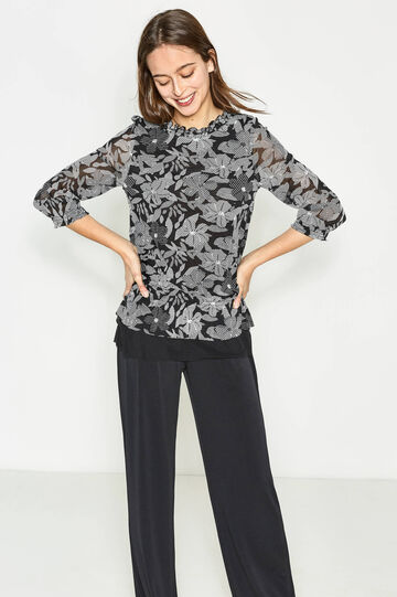 Floral patterned blouse with flounces
