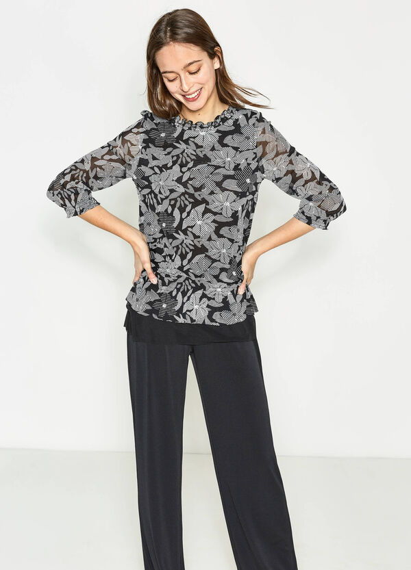 Floral patterned blouse with flounces | OVS