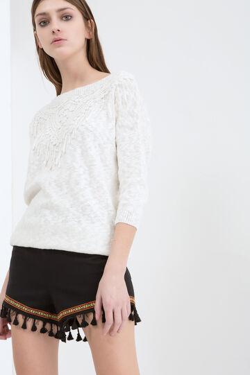 Stretch shorts with tassels, Black, hi-res