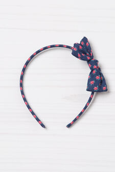 Patterned hairband with bow, Denim, hi-res