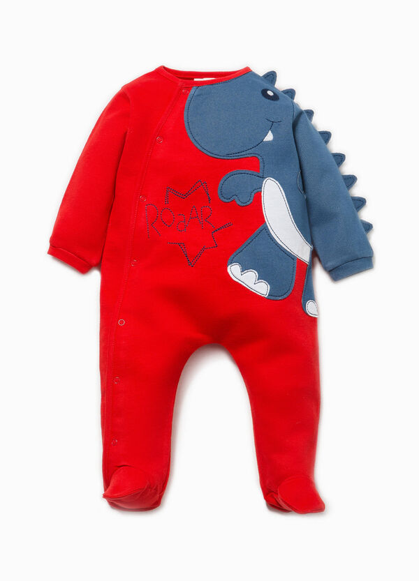 Onesie with feet and dinosaur patch | OVS