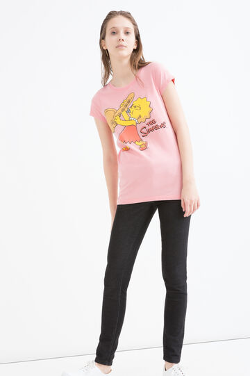 T-shirt misto cotone The Simpsons, Rosa, hi-res