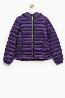Solid colour lightweight down jacket, Purple, hi-res