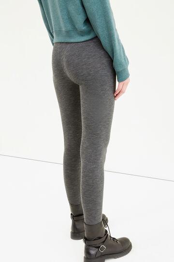 Solid colour stretch cotton leggings, Grey Marl, hi-res