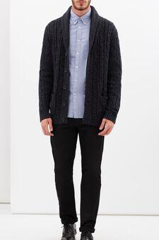 Camicia regular fit tinta unita, Azzurro scuro, hi-res