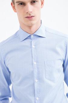 Rumford polka dot shirt in 100% cotton, Light Blue, hi-res