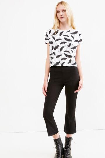 T-shirt crop cotone fantasia piume, Bianco/Nero, hi-res
