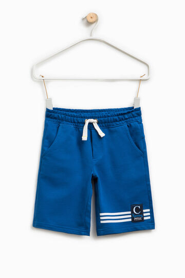 Bermuda shorts with print and patch, Royal Blue, hi-res