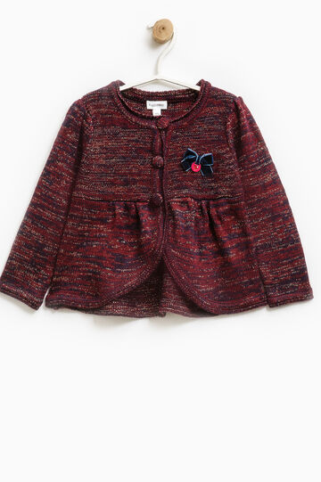 Lurex cardigan with bow, Red, hi-res