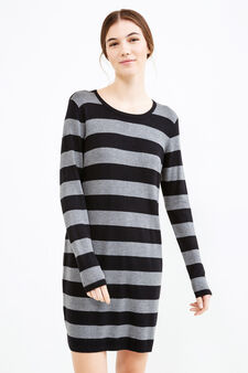 Stretch dress with striped pattern and zip on back, Black/Grey, hi-res