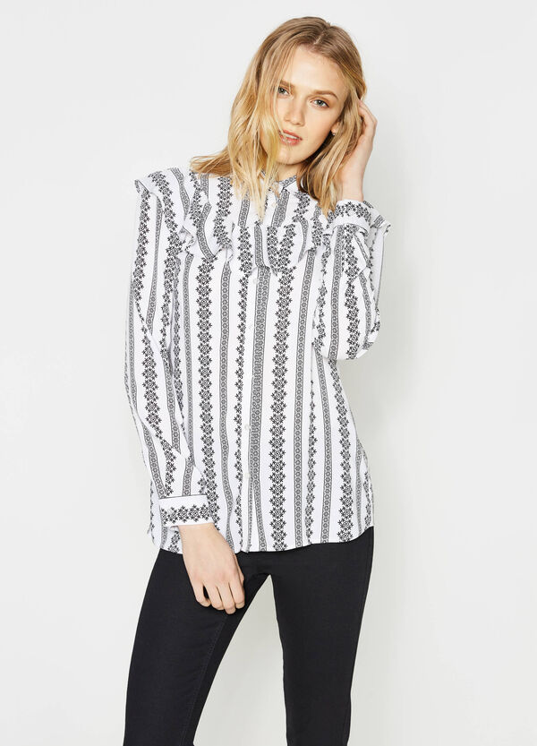 Patterned shirt with frills | OVS