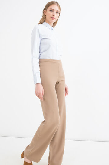 Solid colour 100% viscose trousers, Tobacco Brown, hi-res
