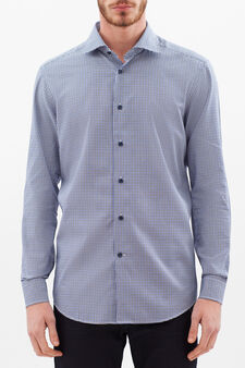 Slim-fit shirt in 100% cotton, White/Blue, hi-res