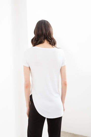T-shirt in stretch viscose with print and splits, Cream White, hi-res