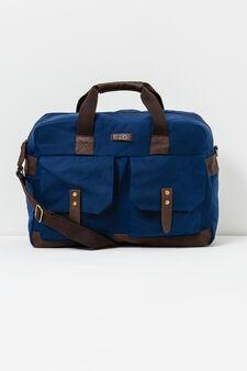 Cotton handbag with cross body strap., Navy Blue, hi-res
