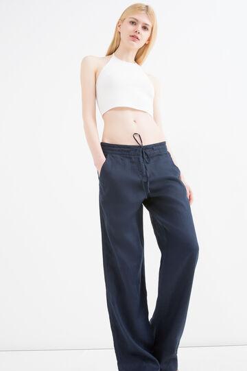 Pantaloni puro lino con coulisse, Blu navy, hi-res