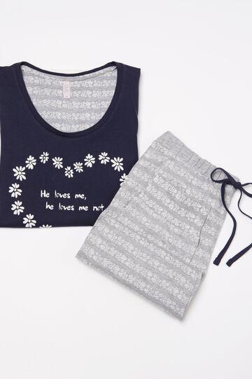 100% cotton floral pyjamas, Navy Blue, hi-res
