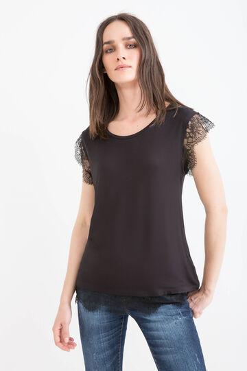 Stretch viscose lace T-shirt, Black, hi-res