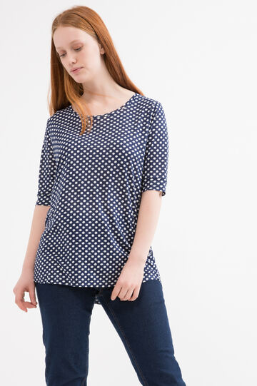 Curvy polka dot T-shirt in 100% viscose, White/Blue, hi-res