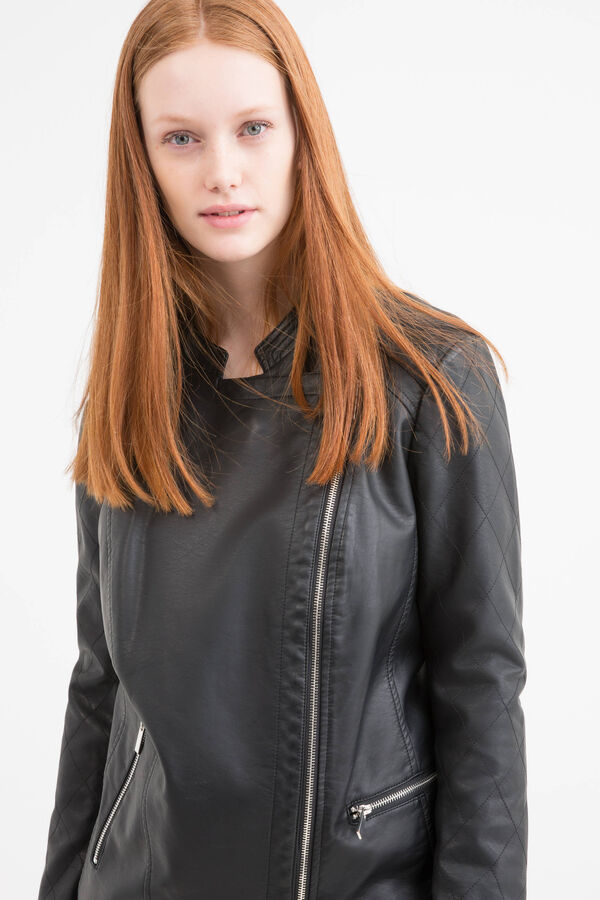 Solid colour leather look Curvy jacket | OVS