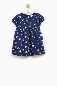Dress with puff sleeves in 100% cotton, Navy Blue, hi-res