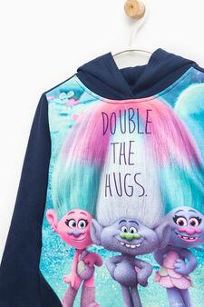 Sweatshirt in stretch cotton with Trolls print, Soft Blue, hi-res