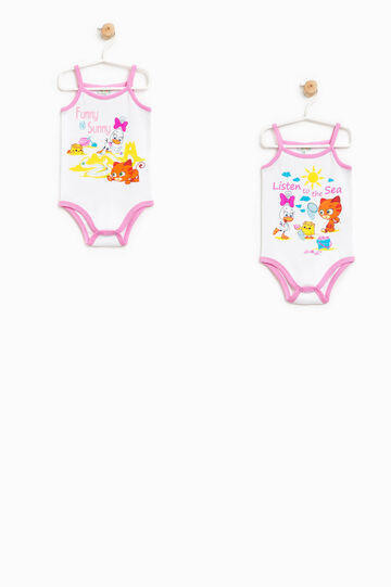 Two-pack sleeveless bodysuits with print