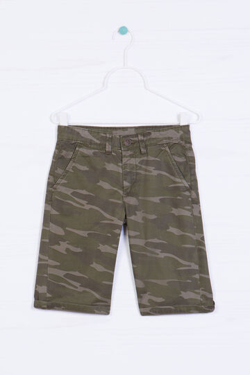 Camouflage Bermuda chinos, Green, hi-res