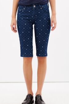 Denim Bermuda shorts with print, Dark Blue, hi-res