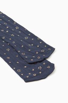 Collant fantasia stelle glitterate, Blu, hi-res