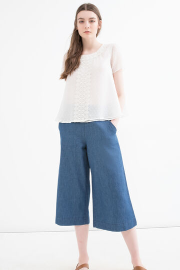 Solid colour blouse with insert, Milky White, hi-res
