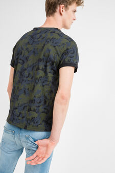 T-shirt puro cotone stampa all-over, Verde militare, hi-res