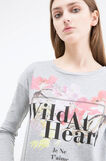 T-shirt cotone mélange con stampa, Grigio melange, hi-res
