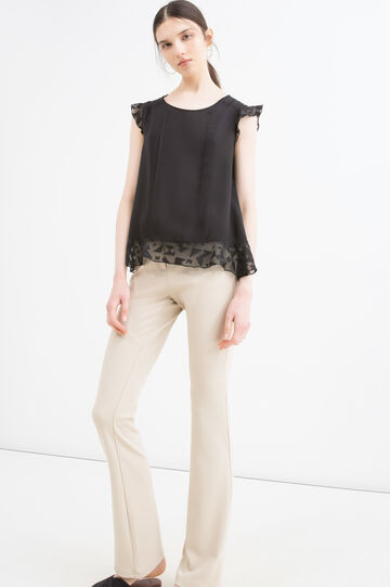 Pleated blouse in viscose blend, Black, hi-res