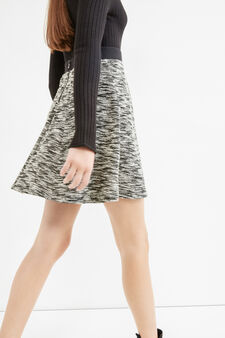 Short full skirt in mélange cotton, Black/White, hi-res