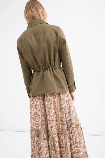 Solid colour safari jacket in 100% cotton, Green, hi-res