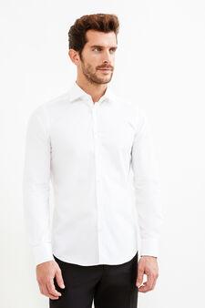 Slim fit cotton formal shirt, White, hi-res