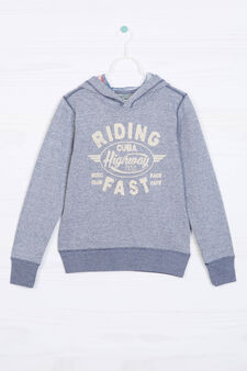 Printed sweatshirt in 100% cotton, Blue Marl, hi-res