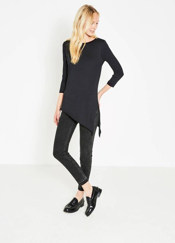 100% cotton T-shirt with asymmetric hem | OVS