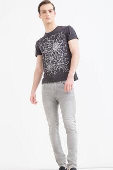 T-shirt puro cotone stampata, Grigio fumo, hi-res