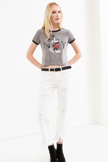 T-shirt crop stampa Mickey Mouse, Grigio melange, hi-res