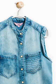 Sleeveless denim shirt, Light Wash, hi-res