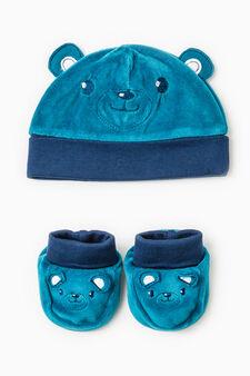 Hat and shoes set, Navy Blue, hi-res