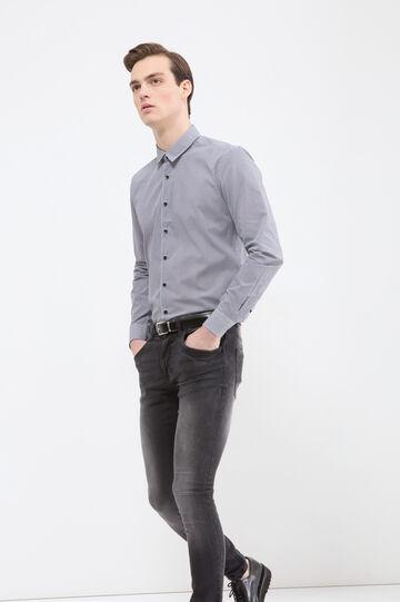 Camicia misto cotone quadretti, Bianco/Nero, hi-res