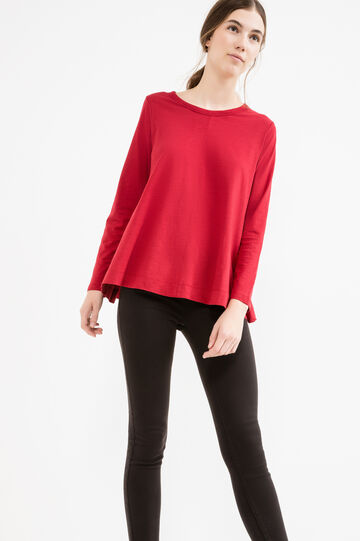 Long-sleeved T-shirt with flared hem, Red, hi-res