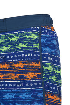 Patterned swim boxer shorts by Maui and Sons, Cornflower Blue, hi-res