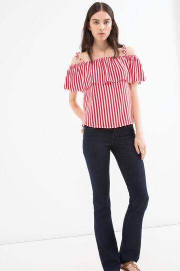 Top in pura viscosa stampa, Bianco/Rosso, hi-res