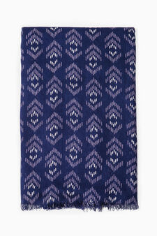 Viscose scarf with geometric pattern, Navy Blue, hi-res