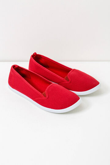 Solid colour canvas slip-ons, Red, hi-res