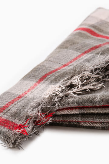 Tartan pattern scarf, Grey/Red, hi-res
